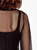 Czarna siatkowa bluzka z efektem glitter                                  zdj.                                  5