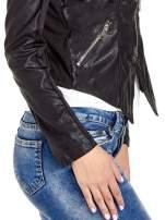 Czarna skórzana kurtka z zamkami                                  zdj.                                  5