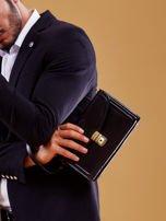 Czarna skórzana torba męska z uchwytem                                  zdj.                                  4