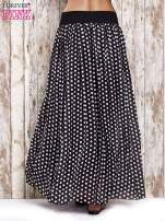 Czarna spódnica maxi w grochy z ozdobnym pasem                                  zdj.                                  4