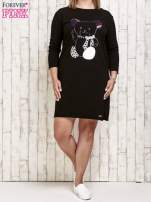 Czarna sukienka dresowa z misiem PLUS SIZE