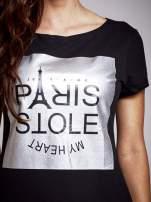 Czarna sukienka dresowa ze srebrnym printem PARIS                                  zdj.                                  5