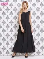 Czarna sukienka maxi z biżuteryjnym dekoltem                                  zdj.                                  4