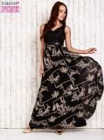 Czarna sukienka maxi ze skórzanym pasem