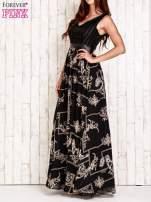 Czarna sukienka maxi ze skórzanym pasem                                  zdj.                                  3