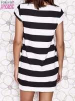 Czarna sukienka w paski ze sznurowanym dekoltem                                  zdj.                                  5