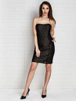 Czarna sukienka wieczorowa z błyszczącą nitką                                  zdj.                                  4