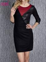 Granatowa sukienka z czarnym wykończeniem                                                                          zdj.                                                                         4