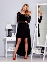 Czarna sukienka z dłuższym tyłem i koronkowym rękawami                                  zdj.                                  4