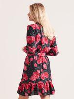 Czarna sukienka z falbaną w kwiaty                                  zdj.                                  2