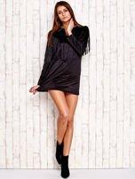Czarna sukienka z frędzlami                                  zdj.                                  4