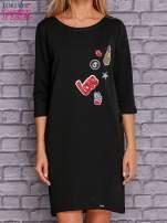 Czarna sukienka z naszywkami                                  zdj.                                  1