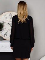 Czarna sukienka z żabotem                                   zdj.                                  2