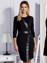 Czarna sukienka ze skórzanymi modułami                                  zdj.                                  1