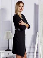 Czarna sukienka ze skórzanymi modułami                                  zdj.                                  3