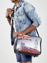 Czarna torba męska z ekoskóry z motywem Londynu                                  zdj.                                  1