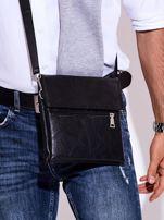 Czarna torba męska z kieszonką na suwak                                  zdj.                                  1