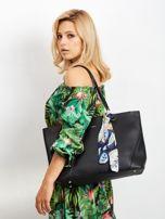 Czarna torba shopper bag z apaszką                                  zdj.                                  4