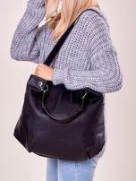Czarna torba shopper z geometrycznymi modułami                                  zdj.                                  5