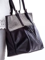 086aeb8ac90eb Czarna torba shopper z materiałową wstawką - Akcesoria torba - sklep ...