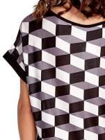Czarna tunika w przestrzenne geometryczne wzory