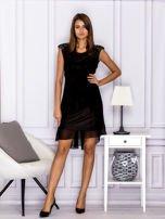 Czarna warstwowa sukienka z wiązaniem                                   zdj.                                  4