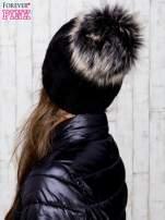Czarna wełniana czapka z pomponem                                  zdj.                                  3