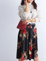 Czarna welurowa plisowana spódnica w kwiaty                                  zdj.                                  11