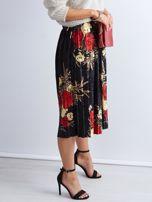 Czarna welurowa plisowana spódnica w kwiaty                                  zdj.                                  5