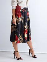 Czarna welurowa plisowana spódnica w kwiaty                                  zdj.                                  2