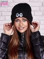 Czarna wywijana czapka z nadrukiem oczu