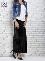 Czarna zamszowa spódnica maxi z rozporkiem                                  zdj.                                  5