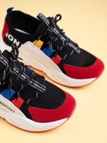 Czarne buty sportowe na wysokiej podeszwie z kolorowymi szlufkami                                  zdj.                                  4