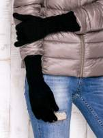 Czarne długie rękawiczki z drapowanym rękawem                                                                          zdj.                                                                         3