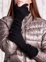 Czarne długie rękawiczki z marszczonym ściągaczem                                                                           zdj.                                                                         1