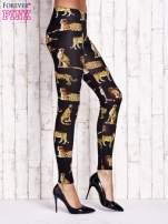 Czarne legginsy w gepardy
