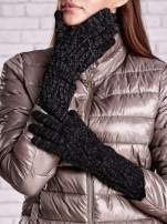 Czarne rękawiczki o warkoczowym splocie z błyszczącą nicią