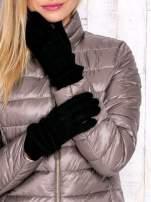 Czarne rękawiczki z ozdobnym marszczeniem                                  zdj.                                  1