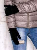 Czarne rękawiczki z ozdobnym marszczeniem                                  zdj.                                  2