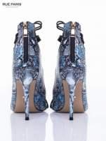 Czarne sandały gladiatorki z motywem snake print