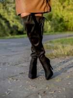 Czarne zamszowe kozaki na szpilkach z bocznym wiązaniem                                                                          zdj.                                                                         3