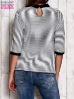Czarno-biała bluzka w paski z kołnierzykiem i rękawem 3/4                                  zdj.                                  4