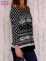 Czarno-biała bluzka z marszczeniem przy dekolcie                                  zdj.                                  4