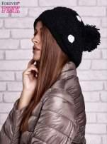 Czarno-biała czapka w grochy                                  zdj.                                  2