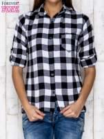Czarno-biała koszula w kratę z kieszonką                                  zdj.                                  1