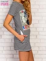 Czarno-biała sukienka w paski z nadrukiem rockowym                                  zdj.                                  4