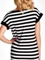 Czarno-biała sukienka w paski z nadrukiem serca                                  zdj.                                  6