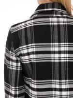 Czarno-biały wełniany płaszcz w kratę zapinany na jeden guzik                                                                          zdj.                                                                         7