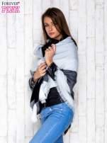 Czarno-biały wełniany szalik w szeroką kratę                                  zdj.                                  3