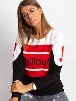 Czarno-czerwona bluza bawełniana z napisem                                  zdj.                                  1